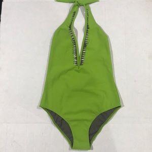Laser Cut Plunge One Piece Swimsuit